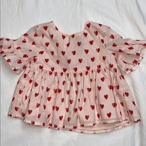 Baby gap size 12-18 month pink & red heart blouse